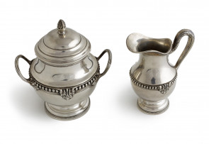 Komplet srebrny - cukiernica i mlecznik